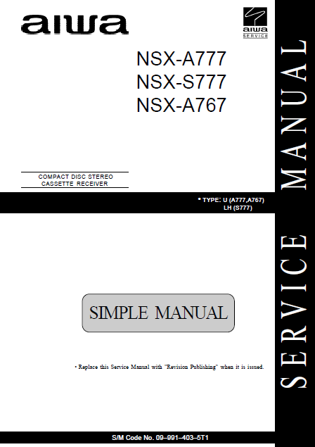 AIWA NSX-A777 Simple CD Stereo Cassette Receiver Service Manual