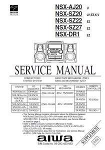 AIWA NSX-AJ20U Supplement CD Stereo System Receiver Service Manual