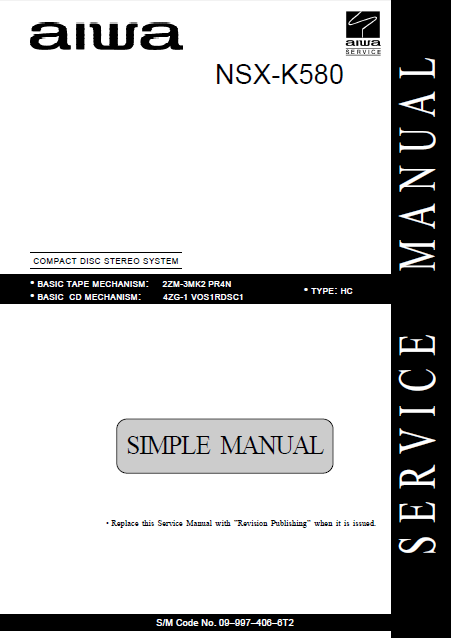 AIWA NSX-K580 HC Simple Compact Disc Stereo Service Manual