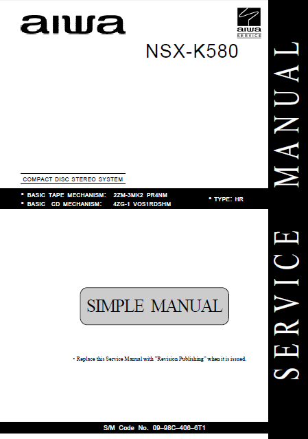 AIWA NSX-K580 HR Simple Compact Disc Stereo Service Manual