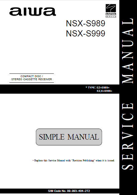 AIWA NSX-S989_ 999 Service Manual