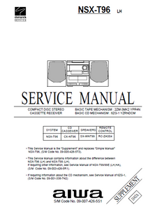 AIWA NSX-T96 LH Supplement CD Cassette Receiver Service Manual