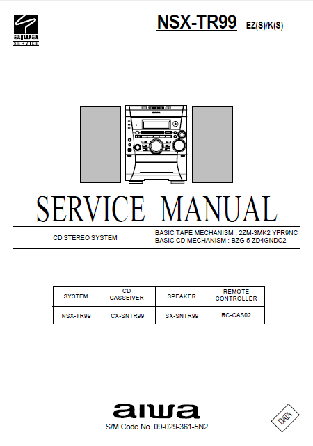 AIWA NSX-TR99 EZ CD Stereo Service Manual
