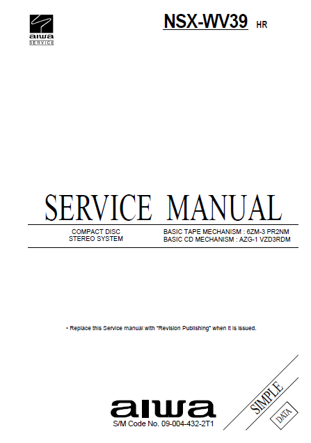 AIWA NSX-WV39 Simple Compact Disc Stereo Service Manual