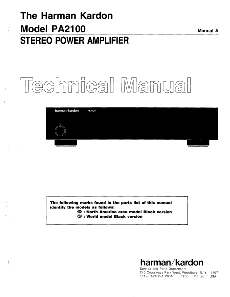 Harman Kardon Model PA2100 Stereo Power Amplifier Technical Service Manual