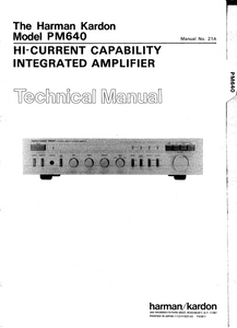Harman Kardon PM640 HI-Current Capability Integrated Amplifier Technical Service Manual