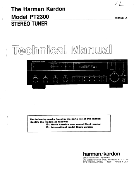Harman Kardon PT2300 Stereo Tuner Technical Service Manual