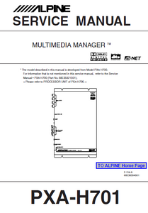 ALPINE PXA-H701 Multimedia Manager Instruction Manual