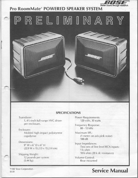 BOSE PRO RoomMate Speaker System Service Manual