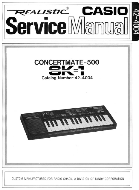 Audio TO Clearcom-REALISTIC sk1 concertmate Service Manual