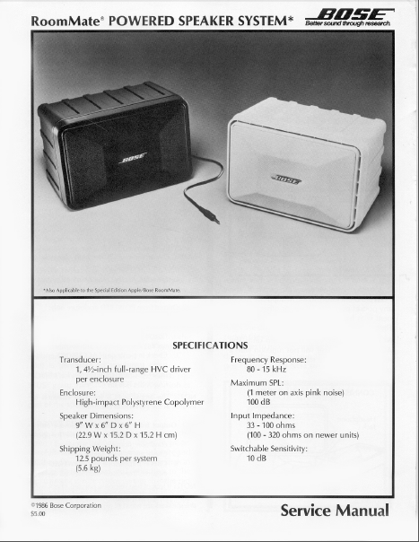 BOSE RoomMate Powered Speaker System Service Manual
