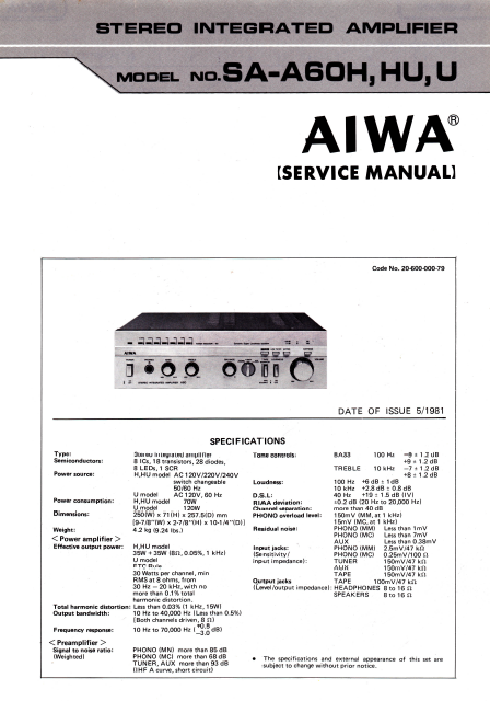 AIWA SA-A60H Stereo Integrated Amplifier Service Manual