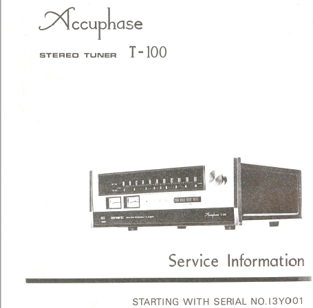 Accuphase T-100 Stereo Tuner Service Manual