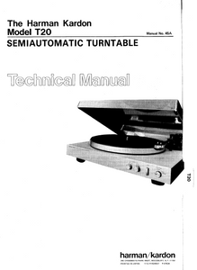 Harman Kardon Model T20 Semiautomatic Turntable Technical Service Manual