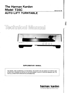 Harman Kardon Model T35C Auto-Lift Turntable Technical Service Manual