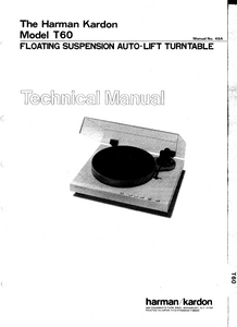 Harman Kardon Model T60 Floating Suspension Auto-Lift Turntable Technical Service Manual