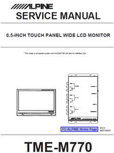 "ALPINE TME-M770 6.5"" Touch Panel LCD Monitor Service Manual"