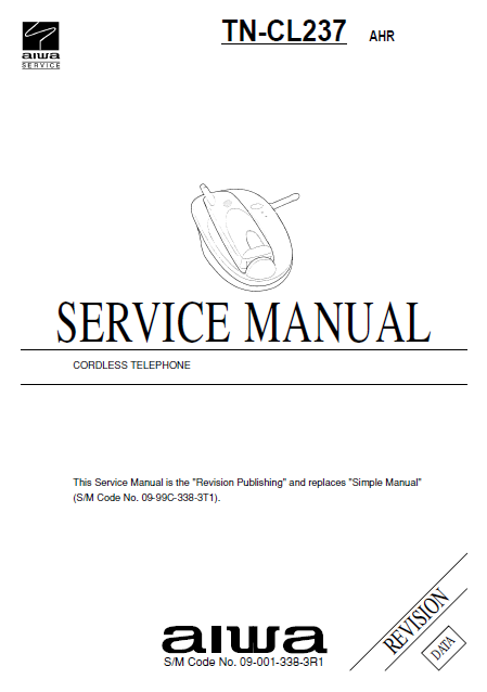 AIWA TN-CL237 AHR Revision Cordless Telephone Service Manual