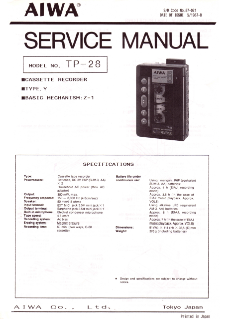 AIWA TP-28 Cassette Recorder Instructions Manual