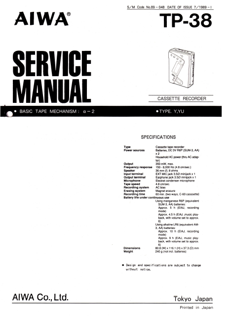 AIWA TP-38 Cassette Recorder Instructions Manual