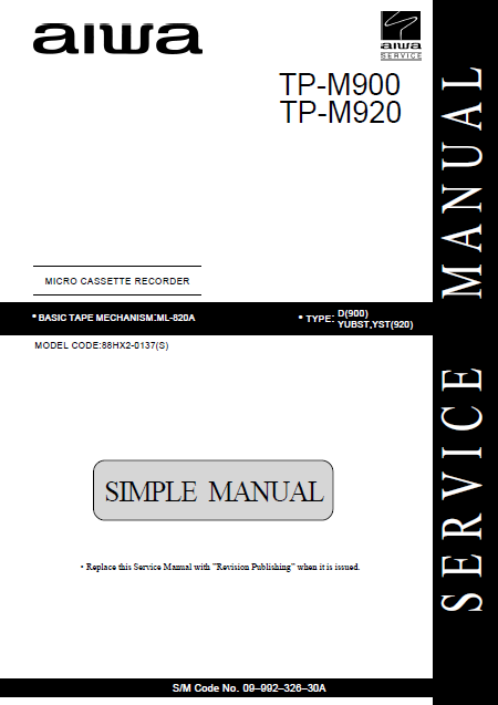 AIWA TP M900-M920 Simple Micro Cassette Recorder Instructions Manual