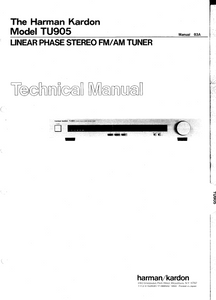 Harman Kardon TU905 Linear Phase Stereo Tuner Technical Manual