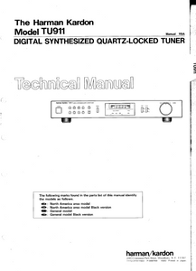 Harman Kardon TU911 Digital Synthesized Tuner Technical Manual