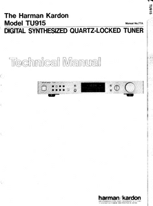 Harman Kardon TU915 Digital Synthesized Tuner Technical Manual
