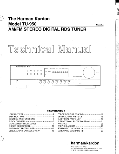 Harman Kardon TU-950 Stereo Digital RDS Tuner Technical Manual