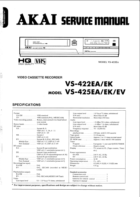 AKAI VS 422-425 Video Cassette Recorder Service Manual