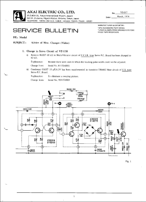 AKAI VT-110 Electronic Service Bulletin Schematic