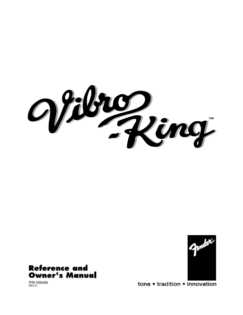 FENDER Vibro-King Reference Owner's Manual