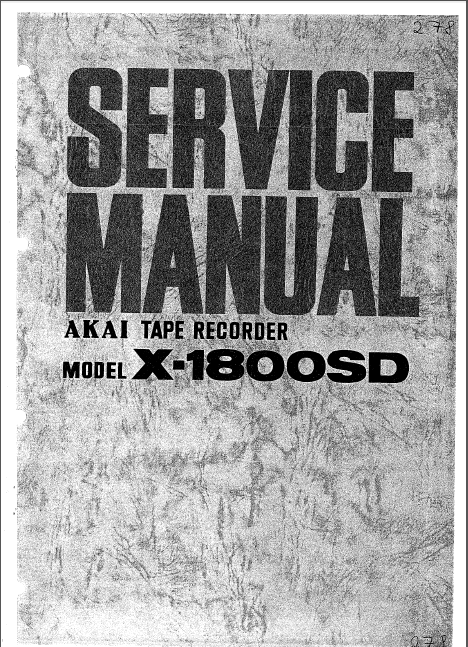 AKAI X-1800SD Tape Recorder Service Manual