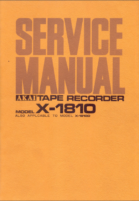 AKAI X 1810-18100 Tape Recorder Service Manual