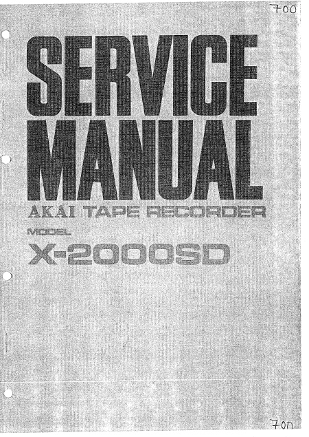 AKAI X-2000SD Tape Recorder Service Manual