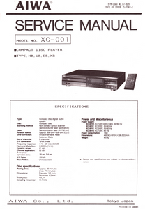 AIWA XC-001 Compact Disc Player Service Manual