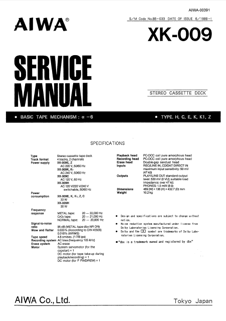 AIWA XK-009 Stereo Cassette Deck Service Manual