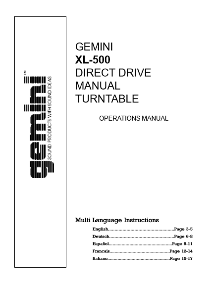 GEMINI Model XL-500 Direct Drive Operations Manual
