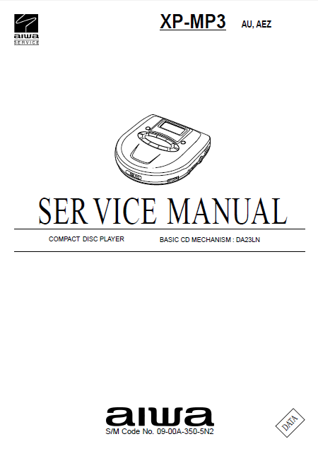 AIWA XP-MP3 Compact Disc Player Service Manual