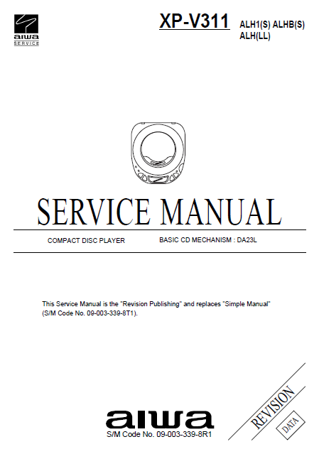 AIWA XP-V311 CD Player Revision Service Manual