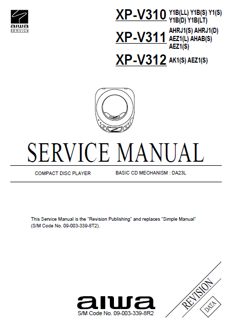 AIWA XP-V310 CD Player Revision Service Manual