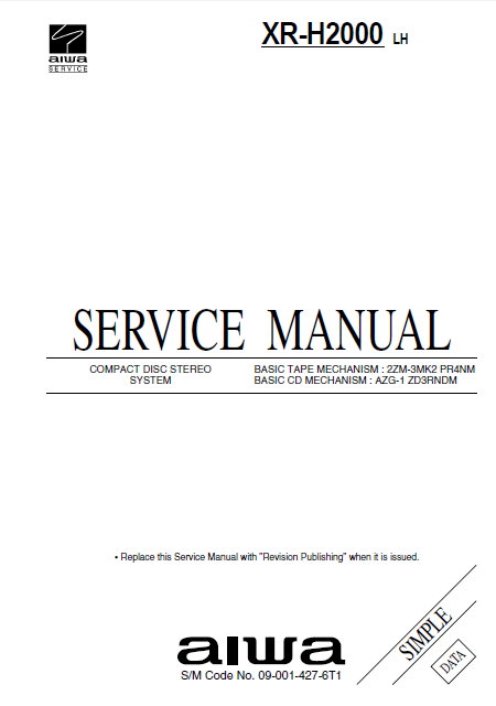 AIWA XR-H2000 CD Stereo System Simple Service Manual