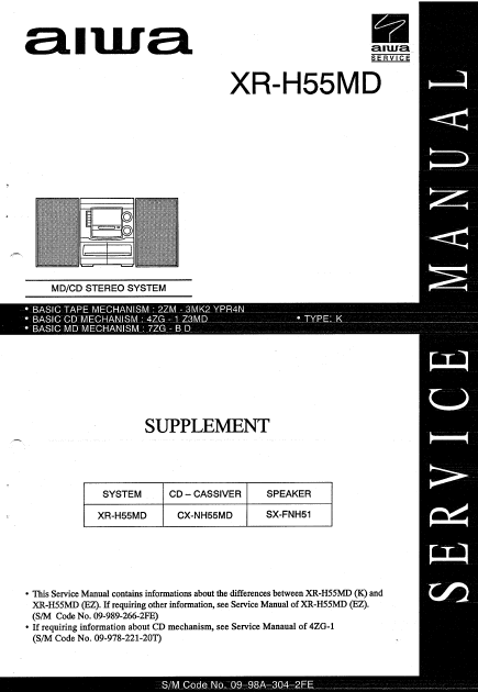 AIWA XR-H55MD Supplement MD-CD Stereo System Service Manual