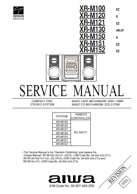 AIWA XR-M100 CD Stereo System Revision Service Manual