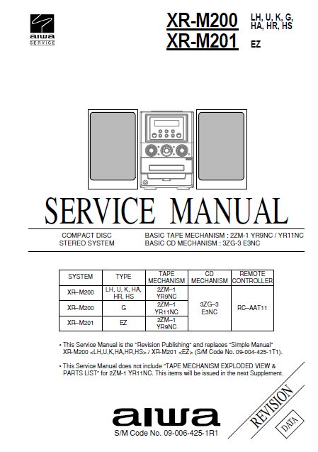 AIWA XR M200-M201 CD Stereo System Revision Service Manual