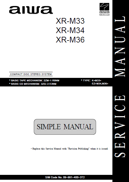 AIWA XR-M33 CD Stereo System Simple Service Manual