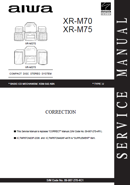 AIWA XR M70-M75 U CD Stereo System Correction Manual
