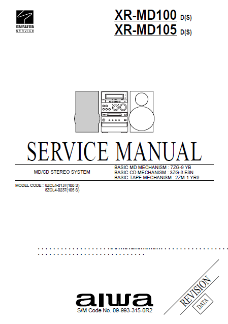 AIWA XR MD100-MD105 CD Stereo System Revision Service  Manual