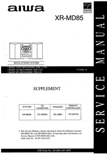 AIWA XR-MD85 CD Stereo System Supplement Schematics
