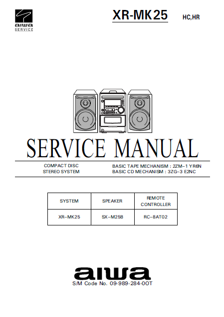 AIWA XR-MK25 Compact Disc Stereo System Service Manual